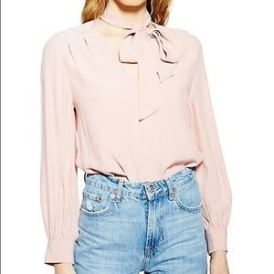 Topshop Blush Bow-Tie Long Sleeved Blouse